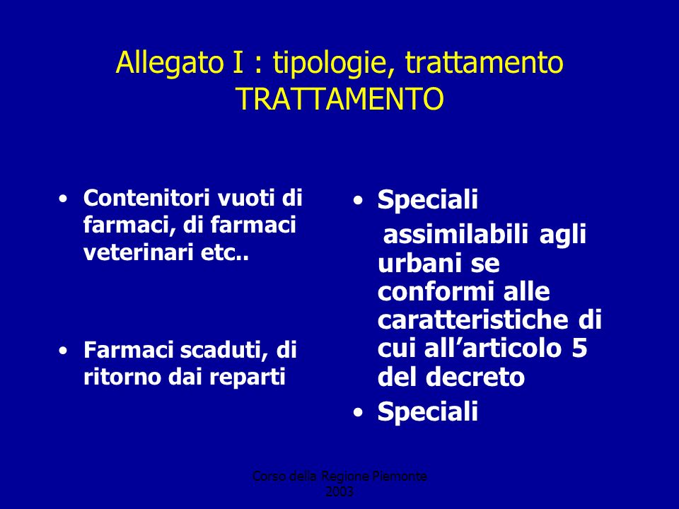 Corso della Regione Piemonte 2003 Allegato I : tipologie, trattamento TRATTAMENTO Contenitori vuoti di farmaci, di farmaci veterinari etc.. Farmaci sc