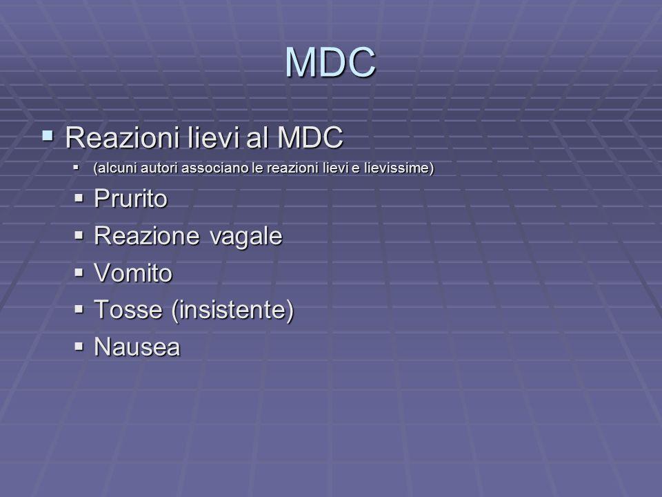 MDC Reazioni lievi al MDC Reazioni lievi al MDC (alcuni autori associano le reazioni lievi e lievissime) (alcuni autori associano le reazioni lievi e