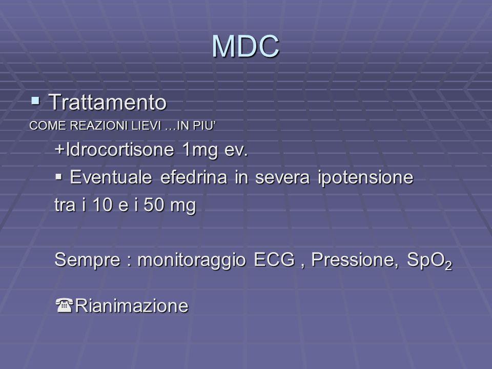 MDC Trattamento Trattamento COME REAZIONI LIEVI …IN PIU +Idrocortisone 1mg ev. Eventuale efedrina in severa ipotensione Eventuale efedrina in severa i