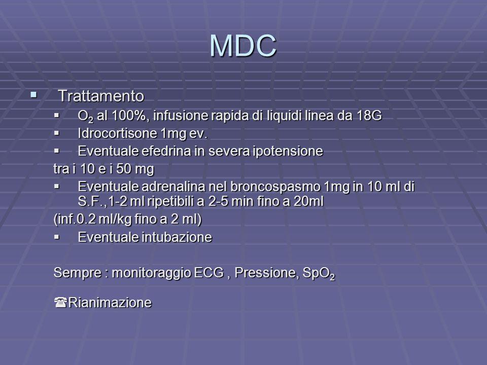 MDC Trattamento Trattamento O 2 al 100%, infusione rapida di liquidi linea da 18G O 2 al 100%, infusione rapida di liquidi linea da 18G Idrocortisone