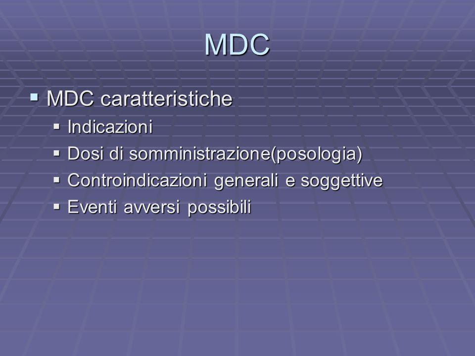 MDC MDC caratteristiche MDC caratteristiche Indicazioni Indicazioni Dosi di somministrazione(posologia) Dosi di somministrazione(posologia) Controindi