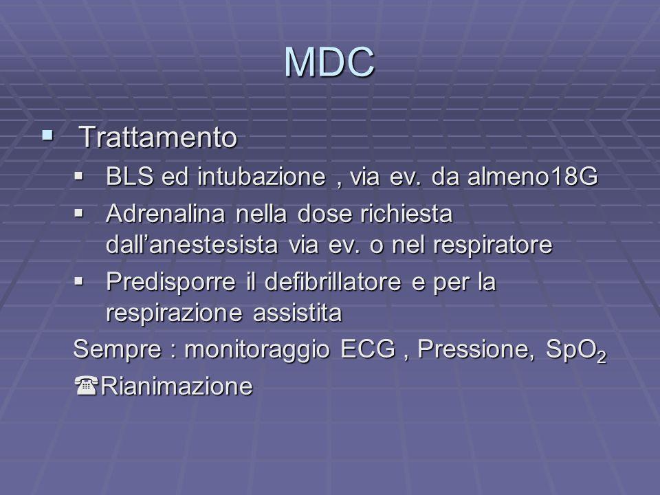 MDC Trattamento Trattamento BLS ed intubazione, via ev. da almeno18G BLS ed intubazione, via ev. da almeno18G Adrenalina nella dose richiesta dallanes