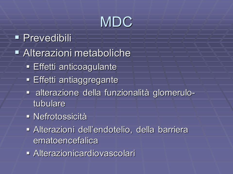 MDC Prevedibili Prevedibili Alterazioni metaboliche Alterazioni metaboliche Effetti anticoagulante Effetti anticoagulante Effetti antiaggregante Effet