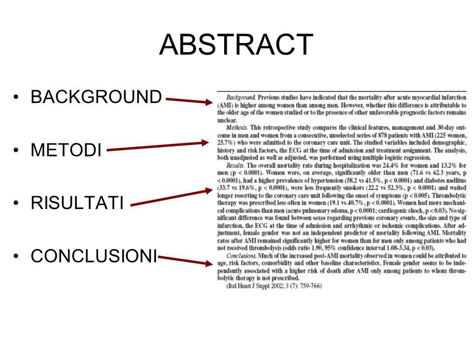 INTRODUZIONE Nellintroduzione viene indicato le motivazioni che hanno portato a condurre lo studio.