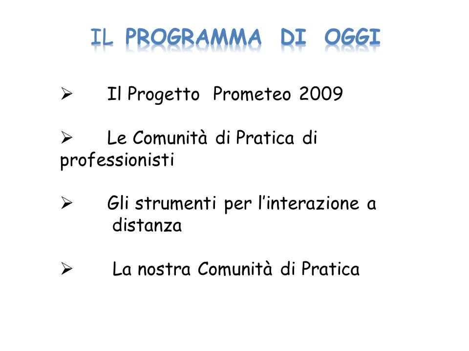 Il Progetto Prometeo 2009 Le Comunità di Pratica di professionisti Gli strumenti per linterazione a distanza La nostra Comunità di Pratica