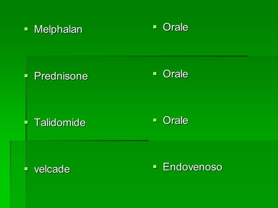 Melphalan Melphalan Prednisone Prednisone Talidomide Talidomide velcade velcade Orale Orale Endovenoso Endovenoso