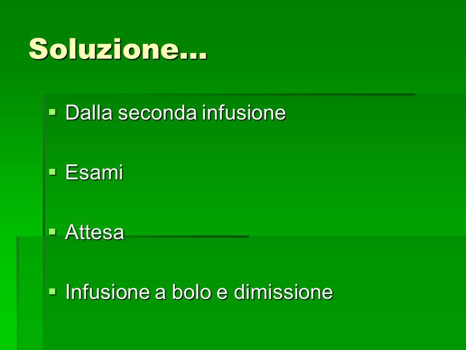 Soluzione… Dalla seconda infusione Dalla seconda infusione Esami Esami Attesa Attesa Infusione a bolo e dimissione Infusione a bolo e dimissione