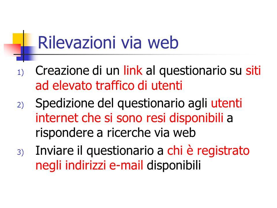 Rilevazioni via web 1) Creazione di un link al questionario su siti ad elevato traffico di utenti 2) Spedizione del questionario agli utenti internet