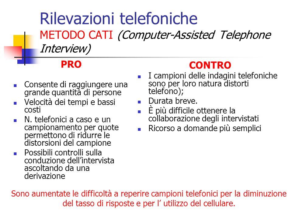 Rilevazioni telefoniche METODO CATI (Computer-Assisted Telephone Interview) PRO Consente di raggiungere una grande quantità di persone Velocità dei te