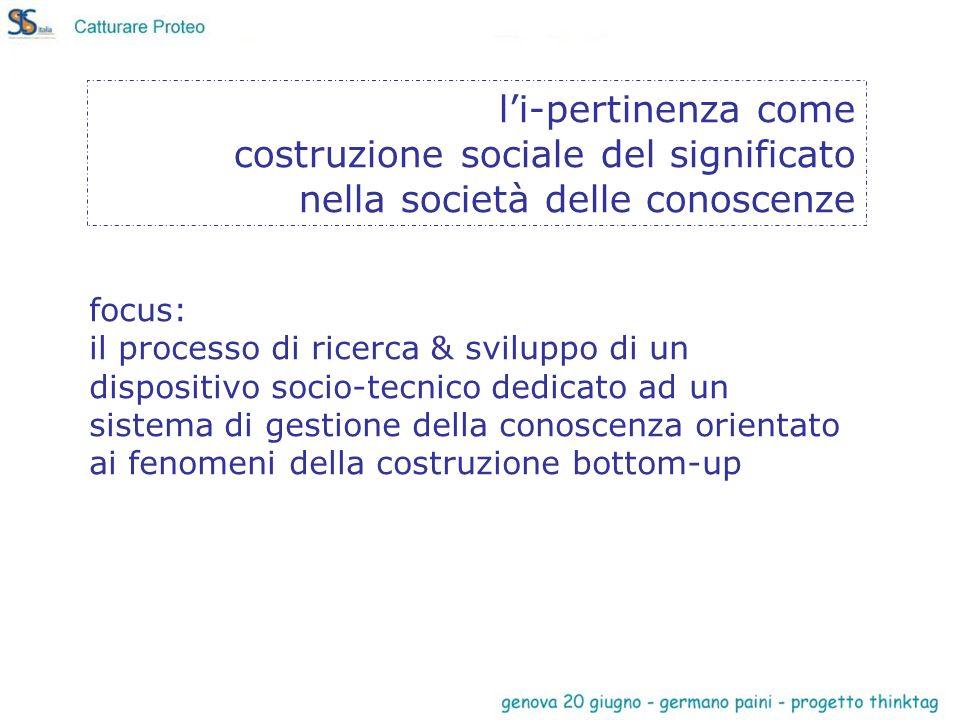 focus: il processo di ricerca & sviluppo di un dispositivo socio-tecnico dedicato ad un sistema di gestione della conoscenza orientato ai fenomeni della costruzione bottom-up li-pertinenza come costruzione sociale del significato nella società delle conoscenze