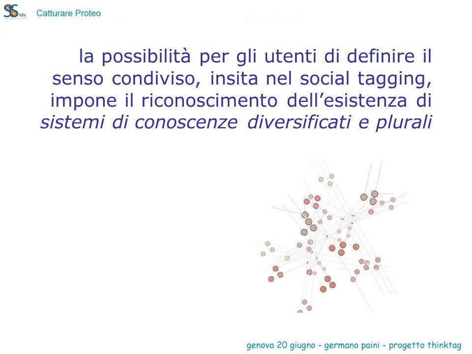 la possibilità per gli utenti di definire il senso condiviso, insita nel social tagging, impone il riconoscimento dellesistenza di sistemi di conoscen