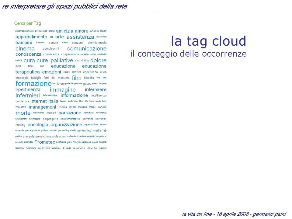 la tag cloud il conteggio delle occorrenze
