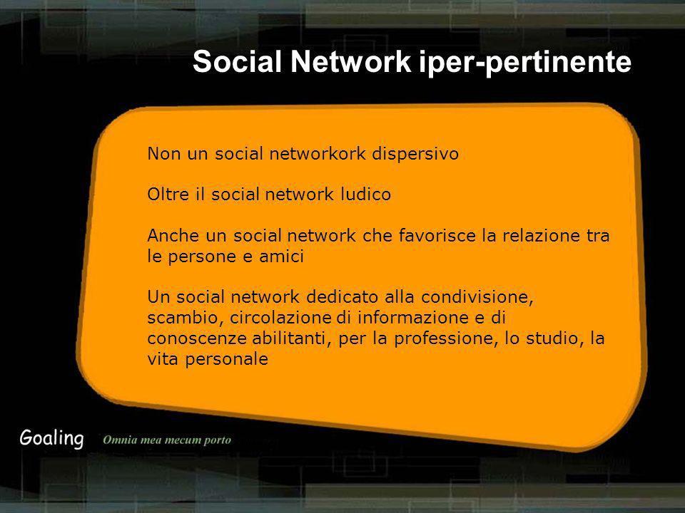 Non un social networkork dispersivo Oltre il social network ludico Anche un social network che favorisce la relazione tra le persone e amici Un social network dedicato alla condivisione, scambio, circolazione di informazione e di conoscenze abilitanti, per la professione, lo studio, la vita personale Social Network iper-pertinente