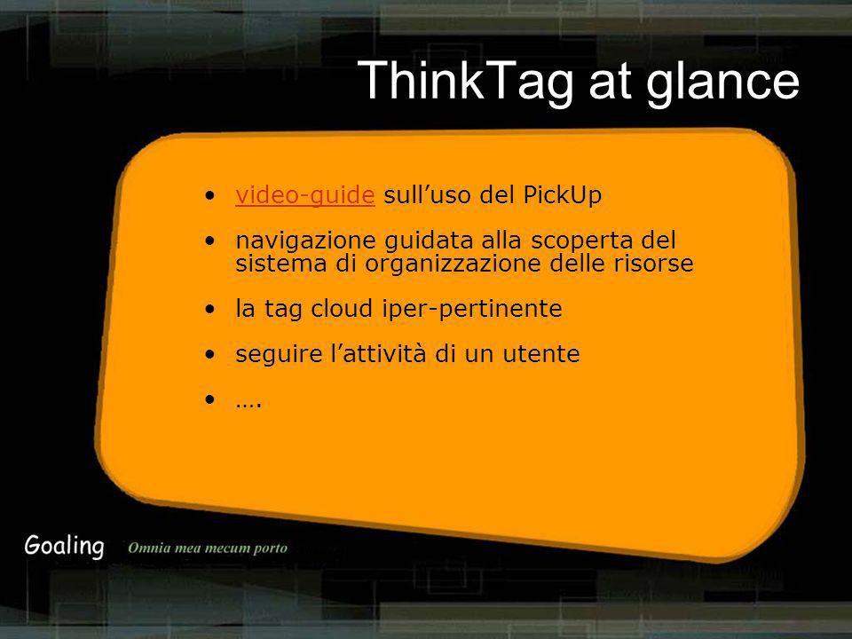 ThinkTag at glance video-guide sulluso del PickUpvideo-guide navigazione guidata alla scoperta del sistema di organizzazione delle risorse la tag cloud iper-pertinente seguire lattività di un utente ….