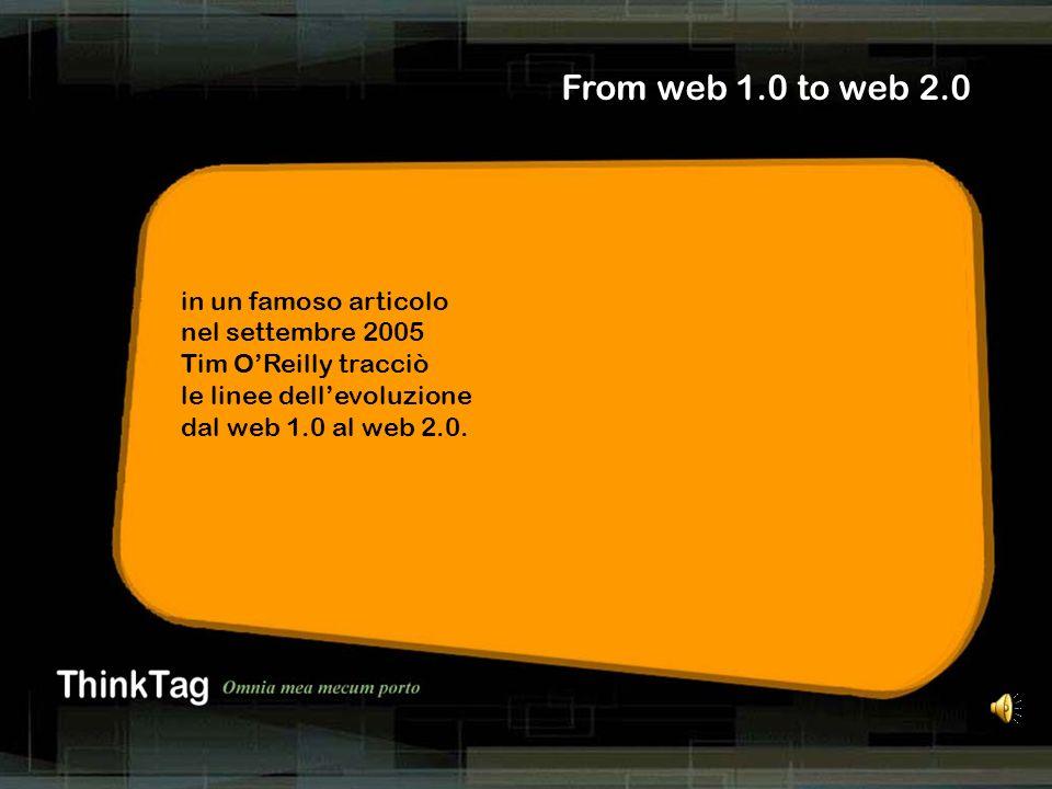 derrick de kerckhove From web 1.0 to web 2.0 in un famoso articolo nel settembre 2005 Tim OReilly tracciò le linee dellevoluzione dal web 1.0 al web 2.0.