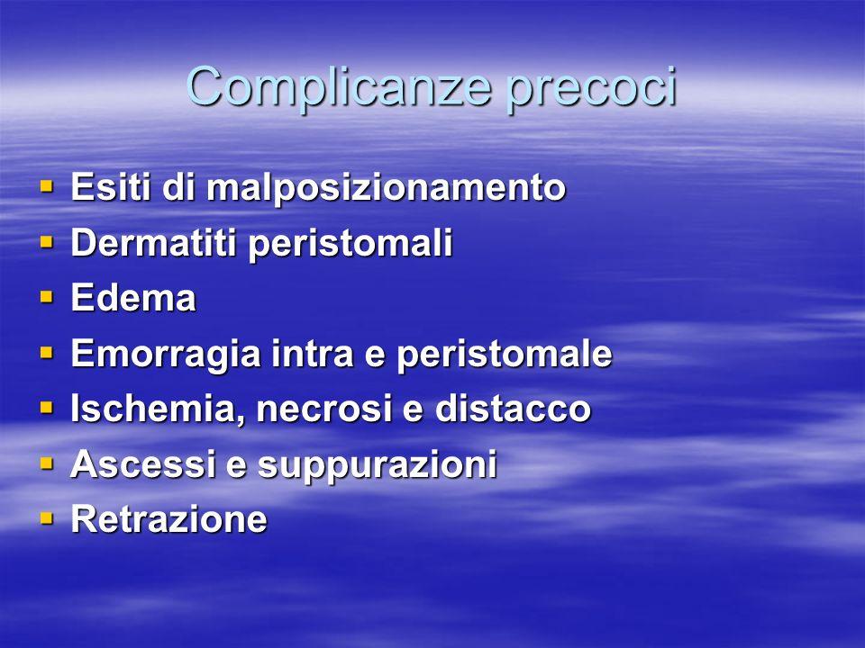 Complicanze precoci Esiti di malposizionamento Esiti di malposizionamento Dermatiti peristomali Dermatiti peristomali Edema Edema Emorragia intra e pe