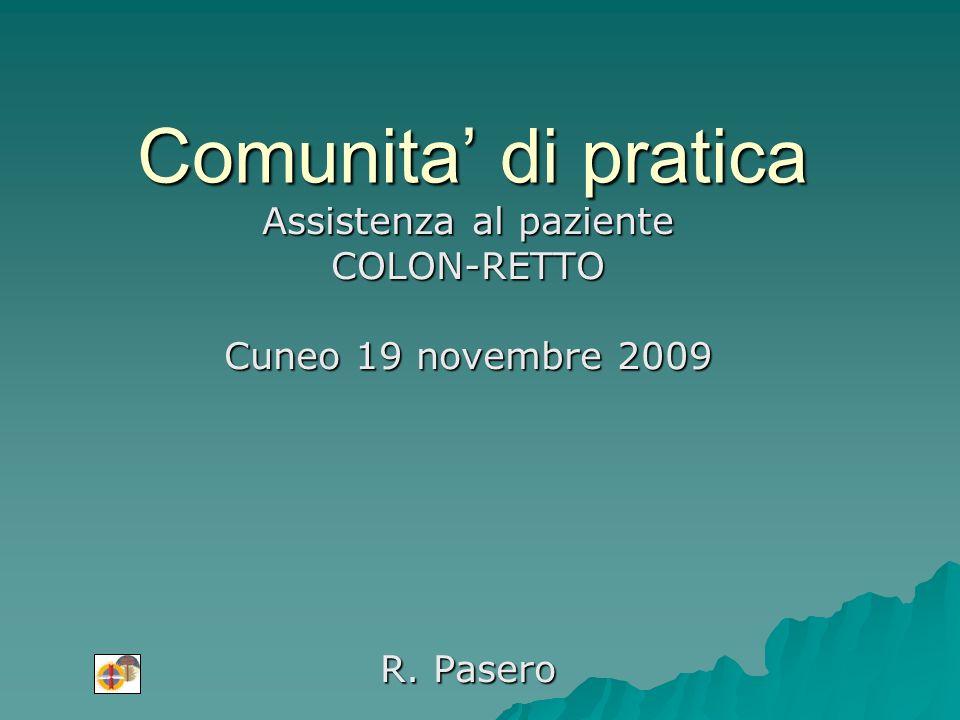 Comunita di pratica Assistenza al paziente COLON-RETTO Cuneo 19 novembre 2009 R. Pasero