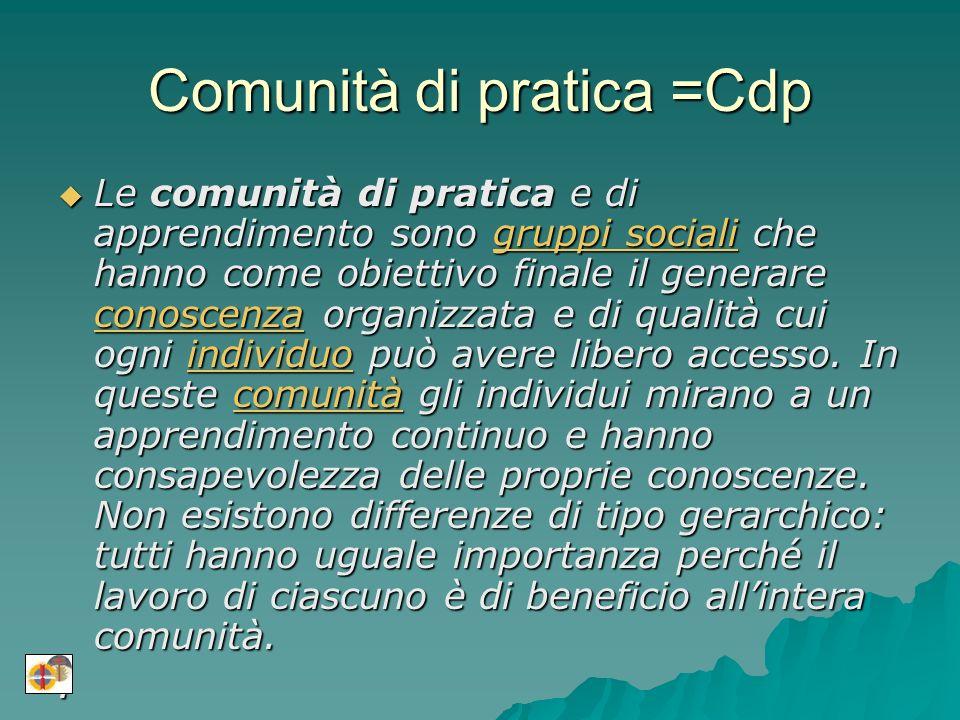Comunità di pratica =Cdp Le comunità di pratica e di apprendimento sono gruppi sociali che hanno come obiettivo finale il generare conoscenza organizzata e di qualità cui ogni individuo può avere libero accesso.