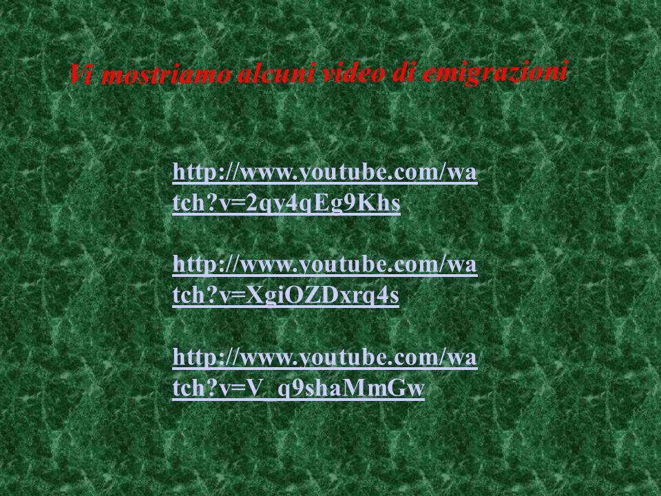 http://www.youtube.com/wa tch?v=2qy4qEg9Khs http://www.youtube.com/wa tch?v=XgiOZDxrq4s http://www.youtube.com/wa tch?v=V_q9shaMmGw Vi mostriamo alcuni video di emigrazioni