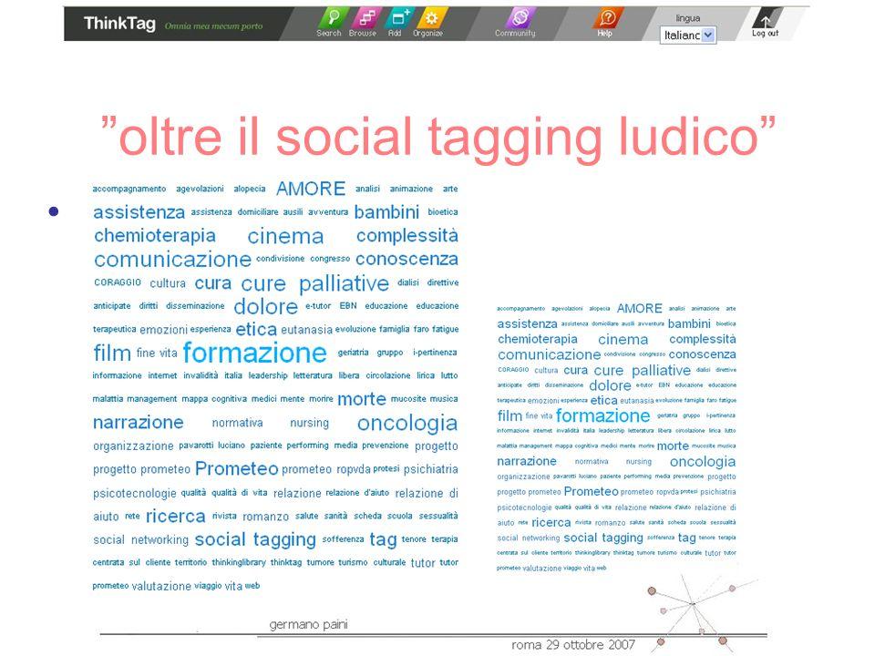oltre il social tagging ludico la tag cloud –calcolo delle occorrenze –rappresentazione folksonomy