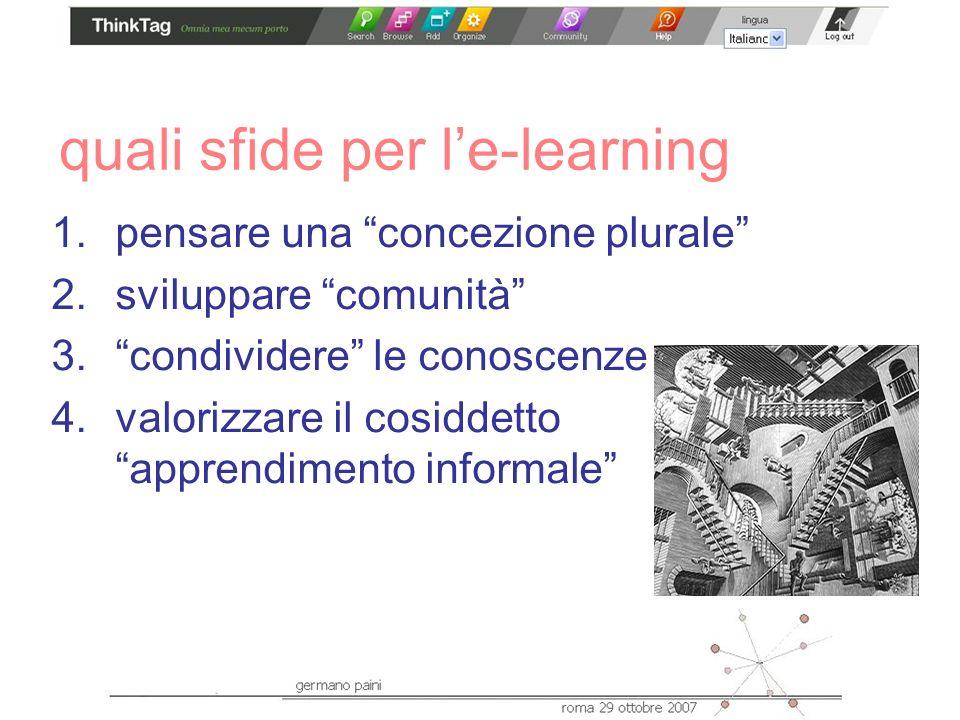 quali sfide per le-learning 1.pensare una concezione plurale 2.sviluppare comunità 3.condividere le conoscenze 4.valorizzare il cosiddetto apprendimento informale