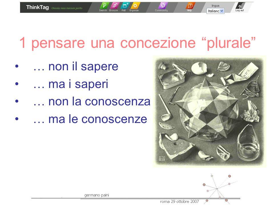 1 pensare una concezione plurale … non il sapere … ma i saperi … non la conoscenza … ma le conoscenze