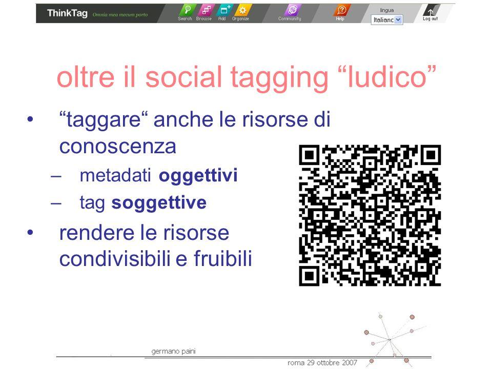 oltre il social tagging ludico taggare anche le risorse di conoscenza –metadati oggettivi –tag soggettive rendere le risorse condivisibili e fruibili