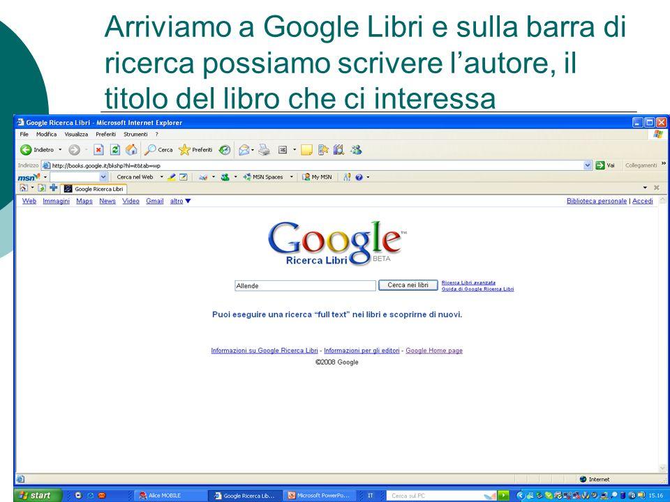 Arriviamo a Google Libri e sulla barra di ricerca possiamo scrivere lautore, il titolo del libro che ci interessa