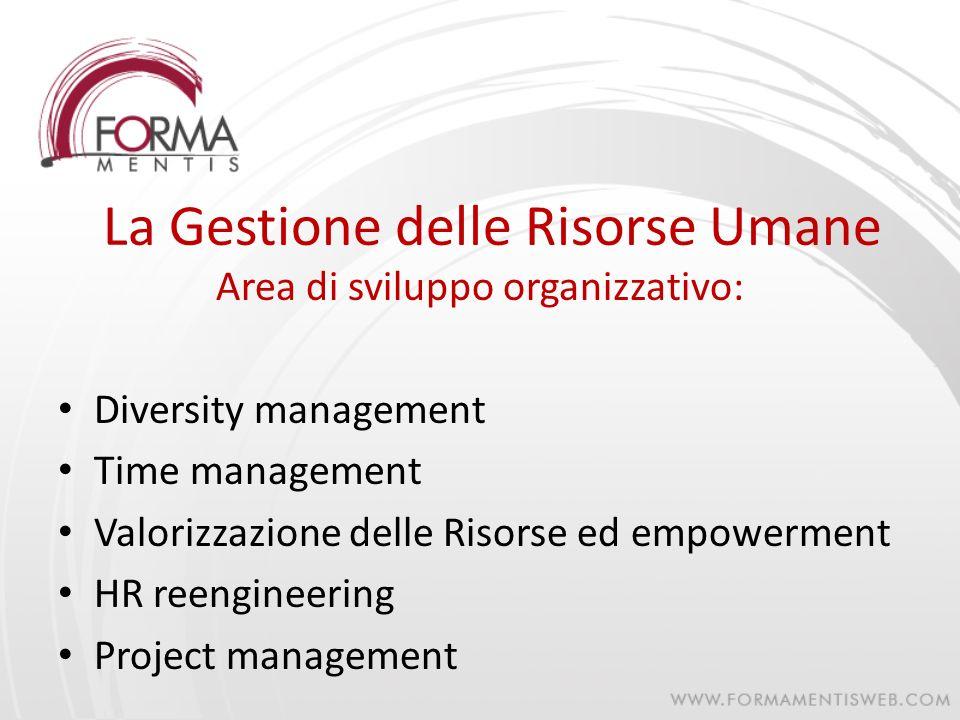 La Gestione delle Risorse Umane Area di sviluppo organizzativo: Diversity management Time management Valorizzazione delle Risorse ed empowerment HR re