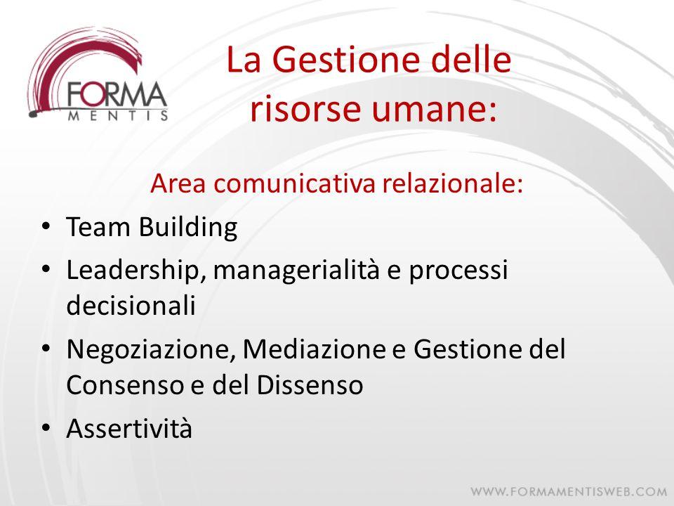 La Gestione delle risorse umane: Area comunicativa relazionale: Team Building Leadership, managerialità e processi decisionali Negoziazione, Mediazion