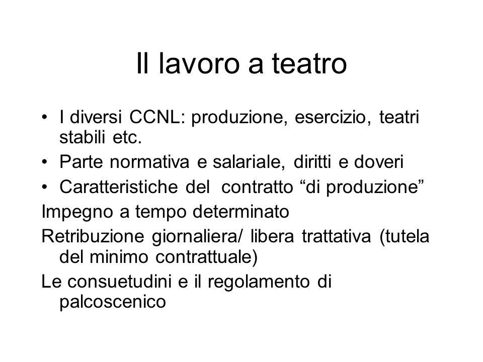 Il lavoro a teatro I diversi CCNL: produzione, esercizio, teatri stabili etc.