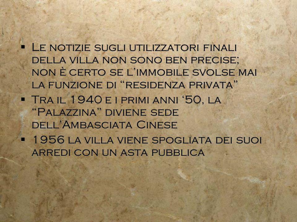 Le notizie sugli utilizzatori finali della villa non sono ben precise; non è certo se limmobile svolse mai la funzione di residenza privata Tra il 194
