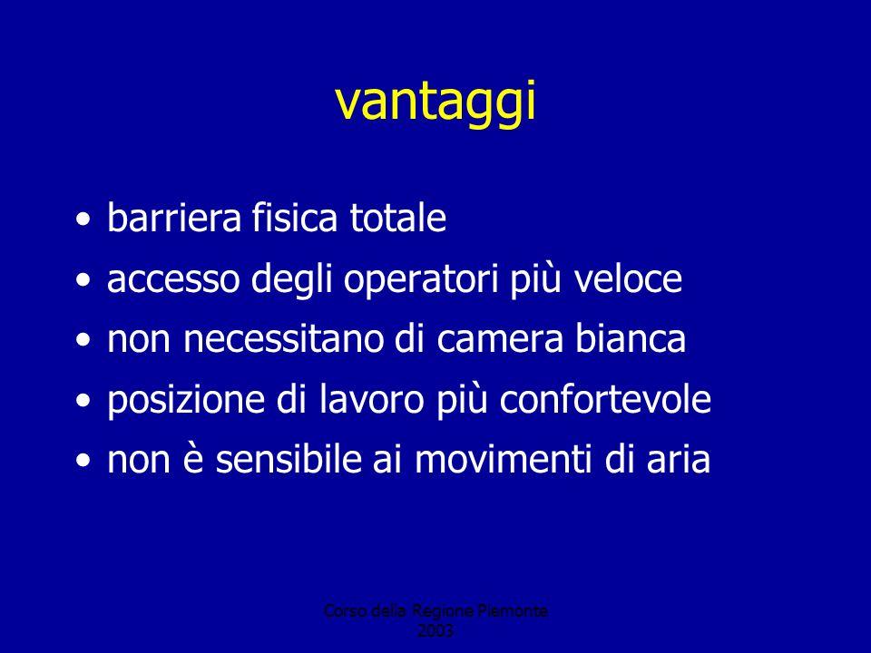 Corso della Regione Piemonte 2003 vantaggi barriera fisica totale accesso degli operatori più veloce non necessitano di camera bianca posizione di lavoro più confortevole non è sensibile ai movimenti di aria