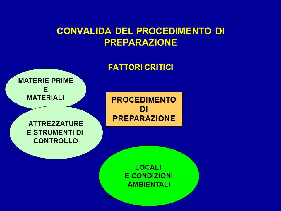 Corso della Regione Piemonte 2003 CONVALIDA DEL PROCEDIMENTO DI PREPARAZIONE FATTORI CRITICI PROCEDIMENTO DI PREPARAZIONE MATERIE PRIME E MATERIALI ATTREZZATURE E STRUMENTI DI CONTROLLO LOCALI E CONDIZIONI AMBIENTALI