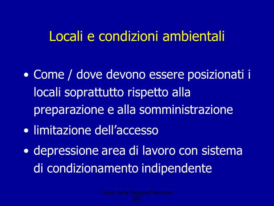 Corso della Regione Piemonte 2003 Locali e condizioni ambientali Come / dove devono essere posizionati i locali soprattutto rispetto alla preparazione e alla somministrazione limitazione dellaccesso depressione area di lavoro con sistema di condizionamento indipendente