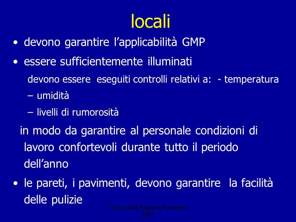 Corso della Regione Piemonte 2003 locali devono garantire lapplicabilità GMP essere sufficientemente illuminati devono essere eseguiti controlli relat