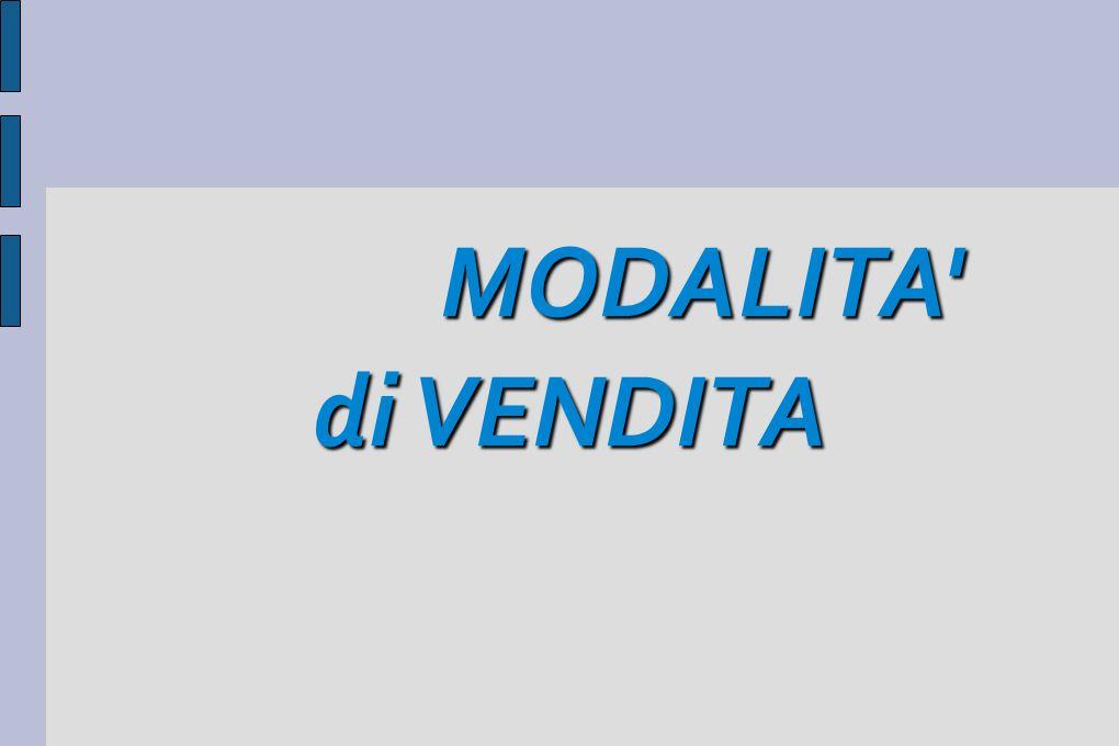 MODALITA' di VENDITA MODALITA' di VENDITA