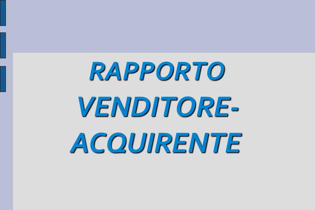 RAPPORTO RAPPORTO VENDITORE- VENDITORE- ACQUIRENTE ACQUIRENTE