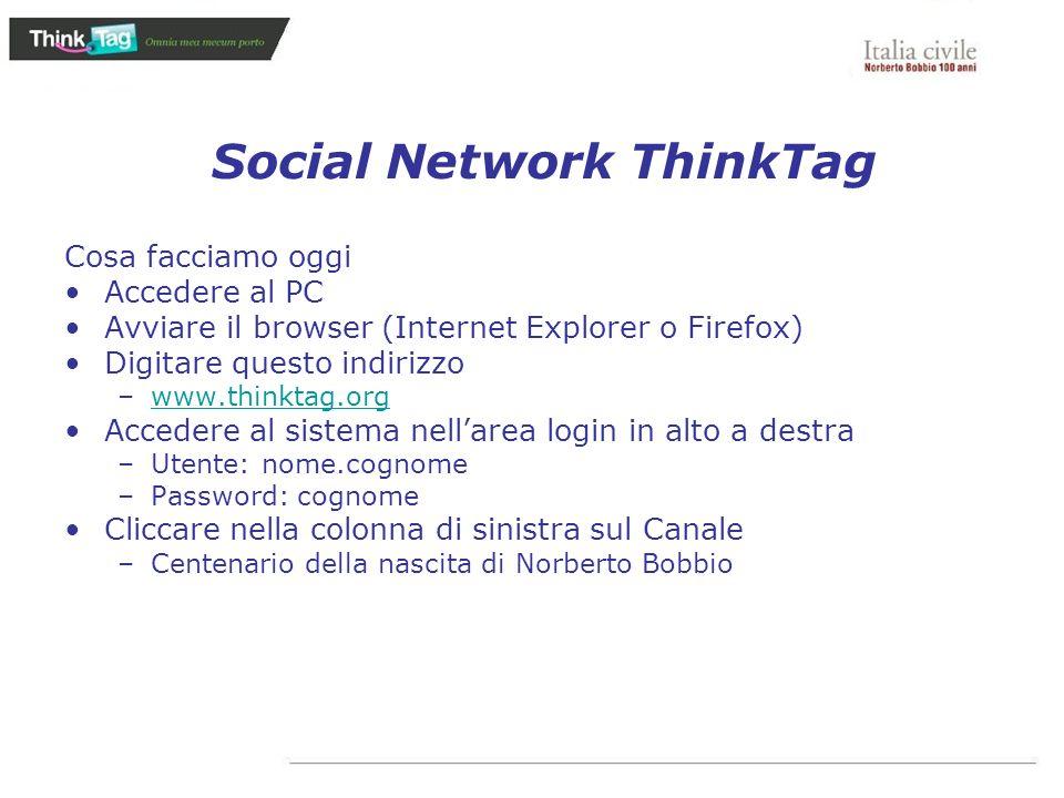 Social Network ThinkTag Cosa facciamo oggi Accedere al PC Avviare il browser (Internet Explorer o Firefox) Digitare questo indirizzo –www.thinktag.org