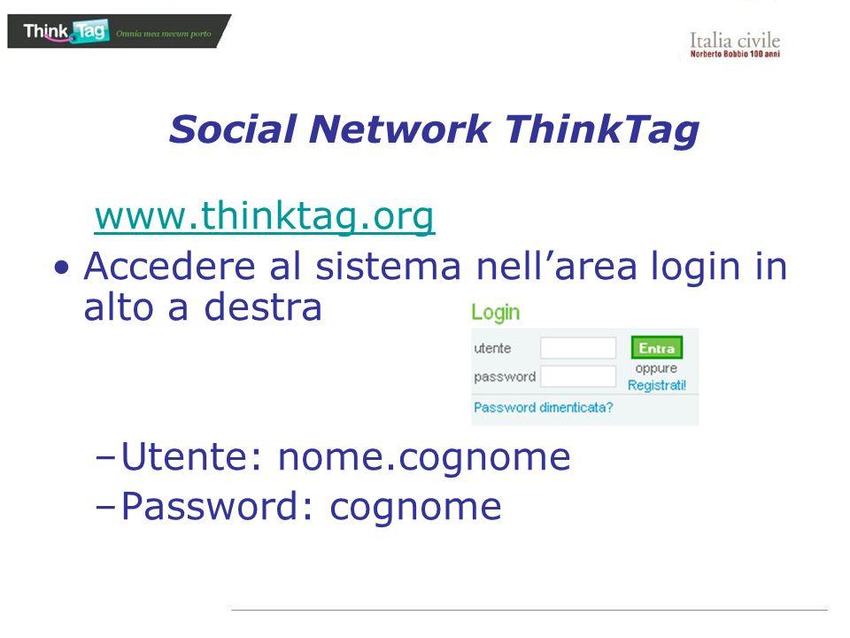 Social Network ThinkTag www.thinktag.org Accedere al sistema nellarea login in alto a destra –Utente: nome.cognome –Password: cognome