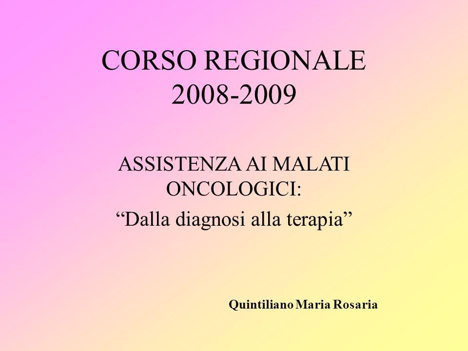 CORSO REGIONALE 2008-2009 ASSISTENZA AI MALATI ONCOLOGICI: Dalla diagnosi alla terapia Quintiliano Maria Rosaria
