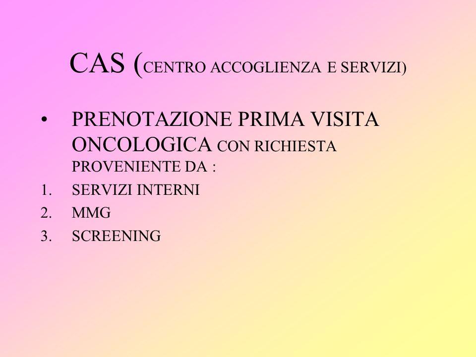 CAS ( CENTRO ACCOGLIENZA E SERVIZI) PRENOTAZIONE PRIMA VISITA ONCOLOGICA CON RICHIESTA PROVENIENTE DA : 1.SERVIZI INTERNI 2.MMG 3.SCREENING