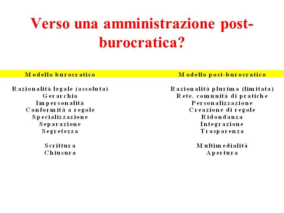 Verso una amministrazione post- burocratica?