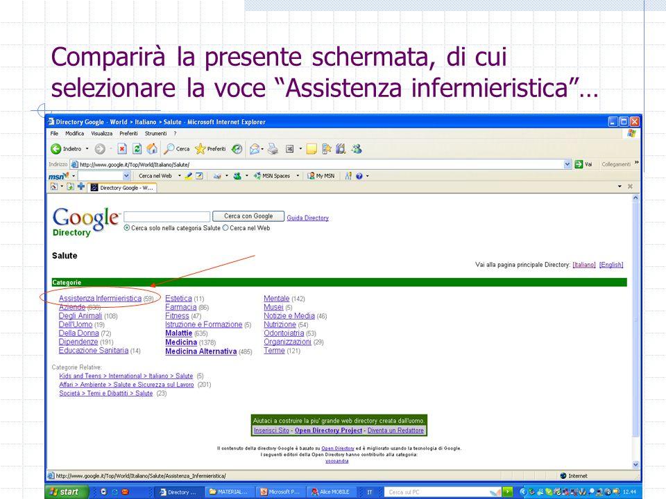 Comparirà la presente schermata, di cui selezionare la voce Assistenza infermieristica…