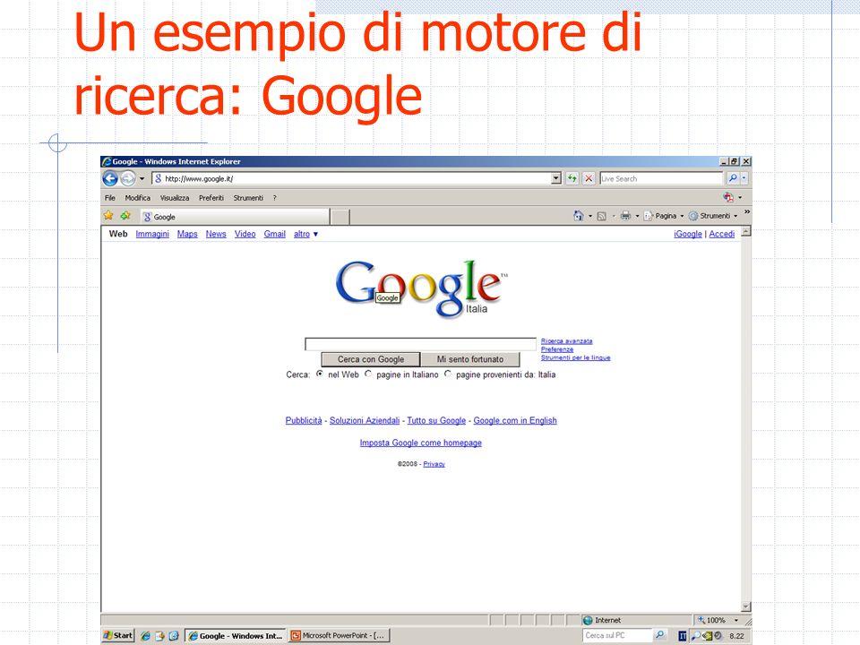 Un esempio di motore di ricerca: Google