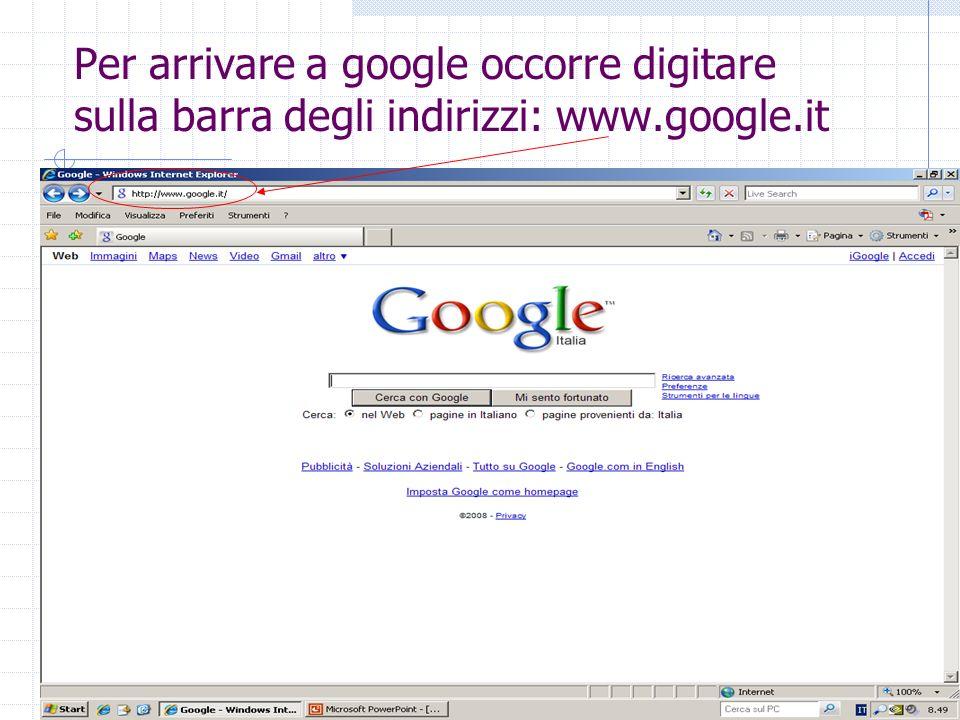 Per arrivare a google occorre digitare sulla barra degli indirizzi: www.google.it