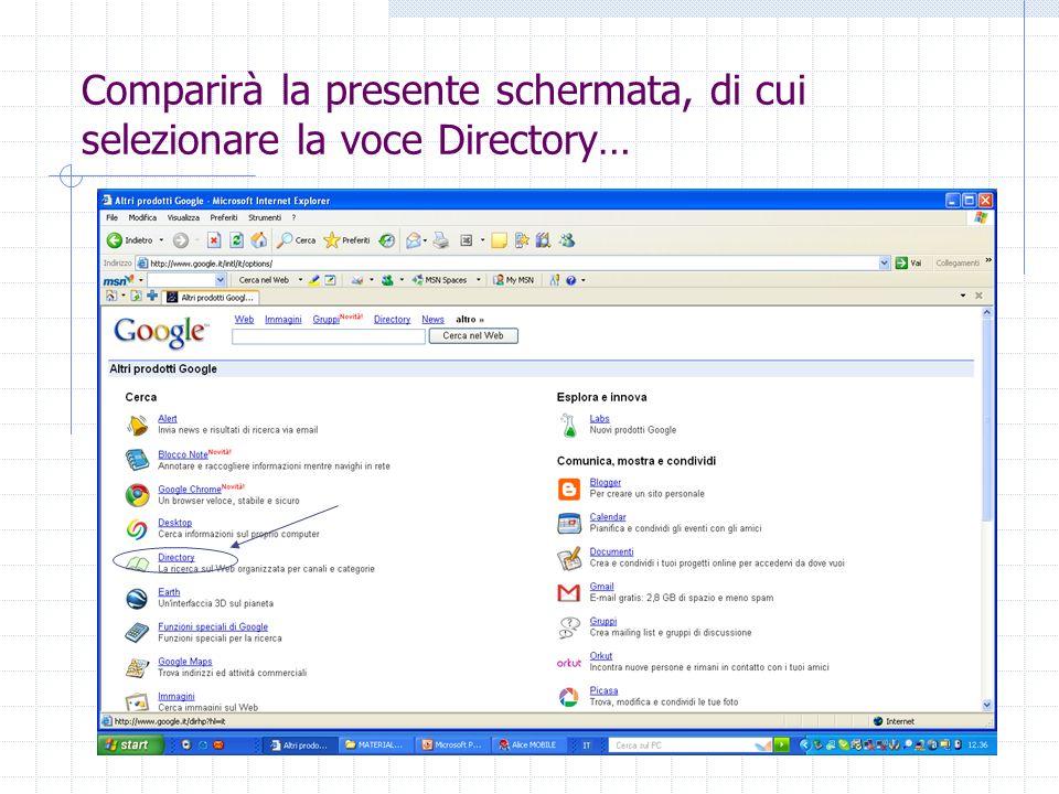 Comparirà la presente schermata, di cui selezionare la voce Directory…