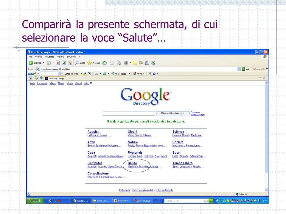 Comparirà la presente schermata, di cui selezionare la voce Salute…