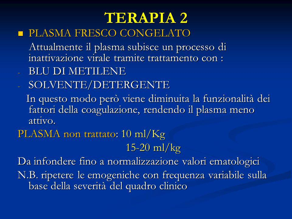 TERAPIA 2 PLASMA FRESCO CONGELATO PLASMA FRESCO CONGELATO Attualmente il plasma subisce un processo di inattivazione virale tramite trattamento con :