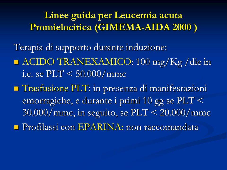 Linee guida per Leucemia acuta Promielocitica (GIMEMA-AIDA 2000 ) Terapia di supporto durante induzione: ACIDO TRANEXAMICO: 100 mg/Kg /die in i.c. se